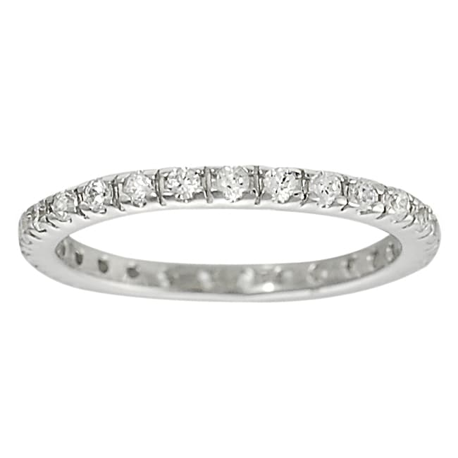 Journee Collection Sterling Silver Cubic Zirconia Stackable Eternity Band
