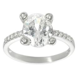 Tressa Sterling Silver Oval-cut Cubic Zirconia Ring