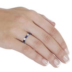 Tressa Sterling Silver Blue and White Cubic Zirconia Ring