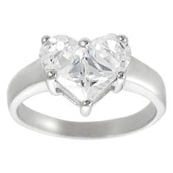 Tressa Sterling Silver Heart-shaped Cubic Zirconia Ring