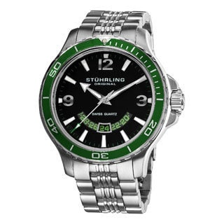 Stuhrling Original Men's Green Pioneer Stainless Steel Bracelet Watch