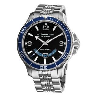 Stuhrling Original Men's Pioneer Swiss Quartz Watch with Blue Bezel