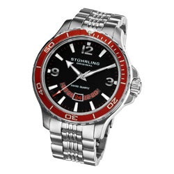 Stuhrling Original Men's Pioneer Swiss Quartz Watch with Red Bezel