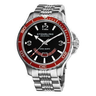 Stuhrling Original Men's Pioneer Swiss Quartz Watch with Red Bezel