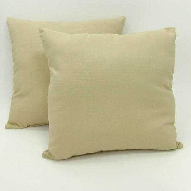 Solid Beige 18-inch Throw Pillows (Set of 2)