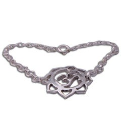 Sterling Silver Om Lotus Adjustable Bracelet (India)