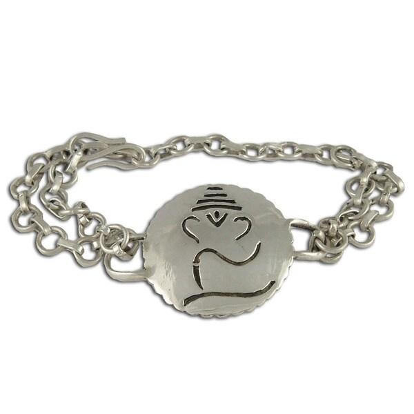 Sterling Silver Ganesh Adjustable Pendent Bracelet from India