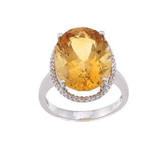 Kabella 14k White Gold Citrine and 1/6ct TDW Diamond Ring (H-I, SI1-SI2)