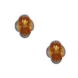 Kabella 14k White Gold Citrine and 1/3ct TDW Diamond Earrings (H-I, SI1-SI2)