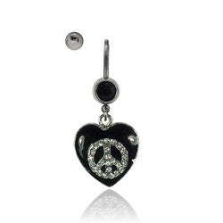 Supreme Jewelry 14G Steel Crystal Peace Sign Barbell Belly Ring