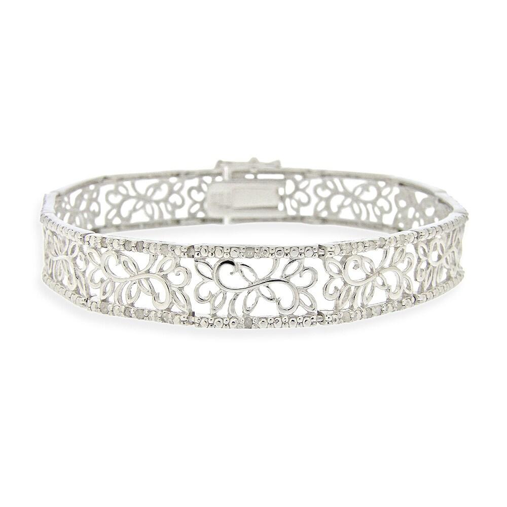 DB Designs Sterling Silver 1/2ct TDW White Diamond Floral Bracelet (I-J, 12-13)