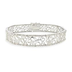 DB Designs Sterling Silver 1/2ct TDW White Diamond Floral Bracelet (I-J, 12-13)