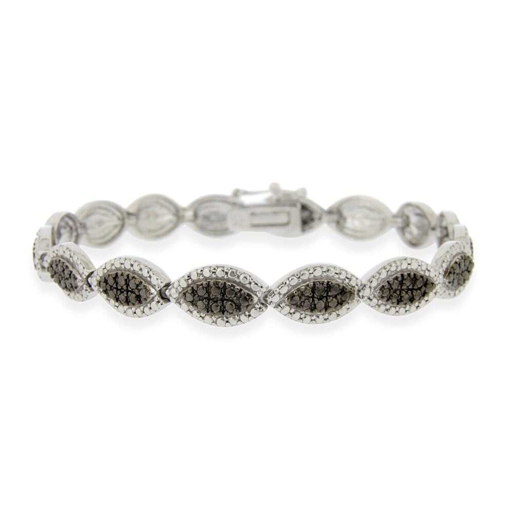 DB Designs Sterling Silver Black Diamond Accent Oval Bracelet