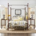 ETHAN HOME LeAnn Gracefull Scrool Iron Metal Queen-size Canopy Bed