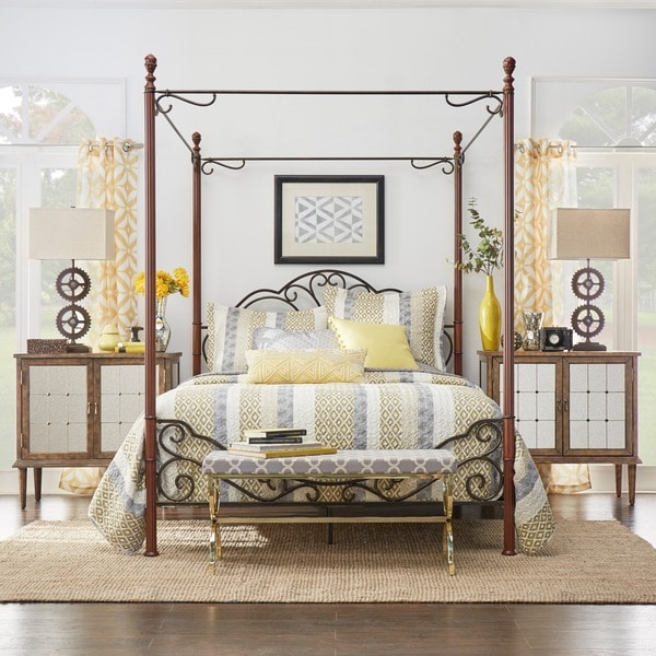 TRIBECCA HOME LeAnn Graceful Scroll Iron Metal Queen-sized Canopy Poster Bed