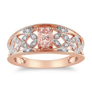 Miadora 10k Pink Gold Morganite and 1/10ct TDW Diamond Ring (G-H, I2-I3)