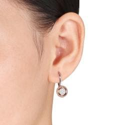 18k White and Pink Gold 1/5ct TDW Diamond Earrings (G-H, SI1-SI2)