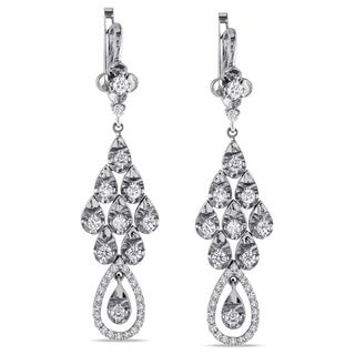 Miadora 18k White Gold 1 5/8ct TDW Diamond Dangle Earrings (G-H, SI1-SI2)