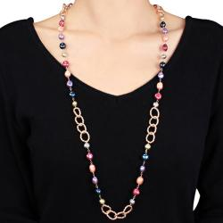Miadora Multi-colored Freshwater Pearl Twisted Oval Link Necklace (7-9.5 mm)