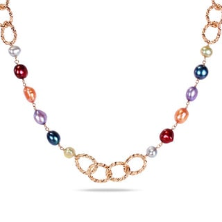 M by Miadora Multi-colored Freshwater Pearl Twisted Oval Link Necklace (7-9.5 mm)