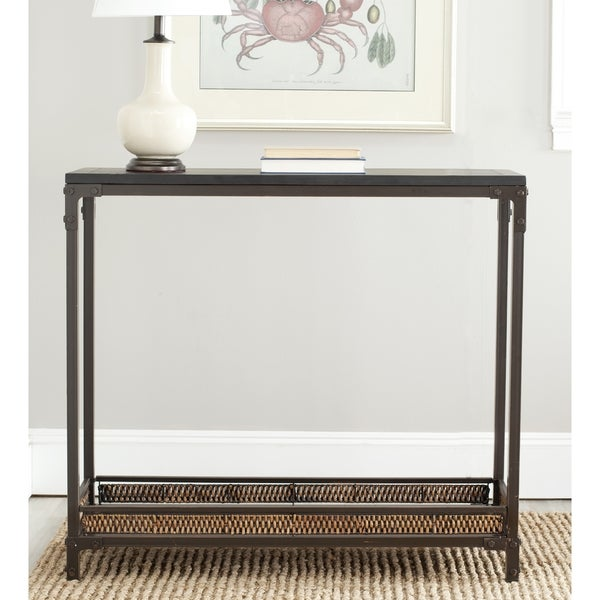 Safavieh Bedford Wicker Accent Wood Top Console Table