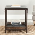 Bedford Wicker Accent Wood Top End Table