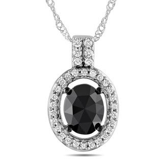 Miadora 14k White Gold 1ct TDW Black and White Diamond Necklace (G-H, I1-I2)