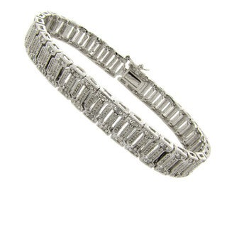 Finesque  Silver Overlay 1/4ct TDW Diamond Bracelet (I-J, I2-I3)