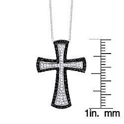 Auriya 14k Gold 3/4ct TDW Black Diamond Cross Necklace