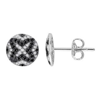 Auriya 14k Gold 1/3ct TDW Black Diamond Button Earrings
