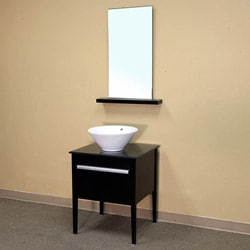 Legion Furniture 24 Inch Black Solid Wood Single Sink Vanity With Ceramic Top And Mirror