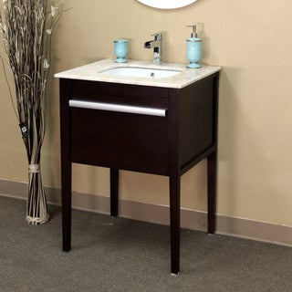 26 in Single Sink Vanity in Dark Cherry top with Cream Marble Top