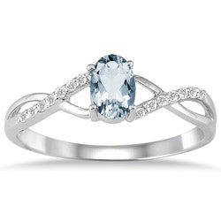 10k White Gold Aquamarine and 1/10ct TDW Diamond Ring (I-J, I1-I2)