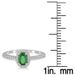 10k White Gold Emerald and 1/6ct TDW Round Diamond Ring (I-J, I1-I2)