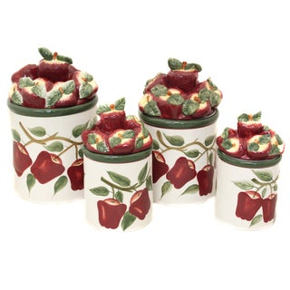 Casa Cortes Country Apple Collection Deluxe 4-piece Canister Set