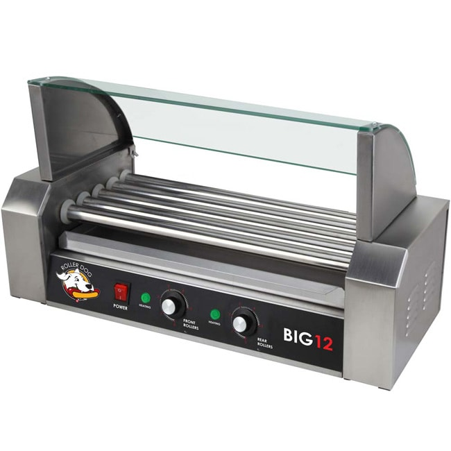 Stainless Steel Hotdog Roller with Drip Tray and Glass Cover