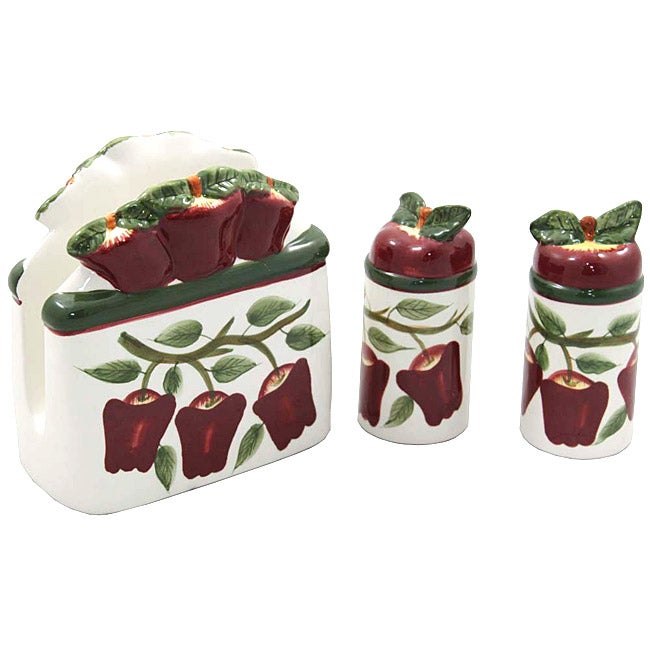 Country Apple Collection 3-piece Napkin and Shakers Set
