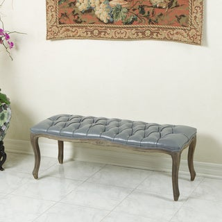 Christopher Knight Home Tufted Grey Leather Bench with Weathered Oak Frame