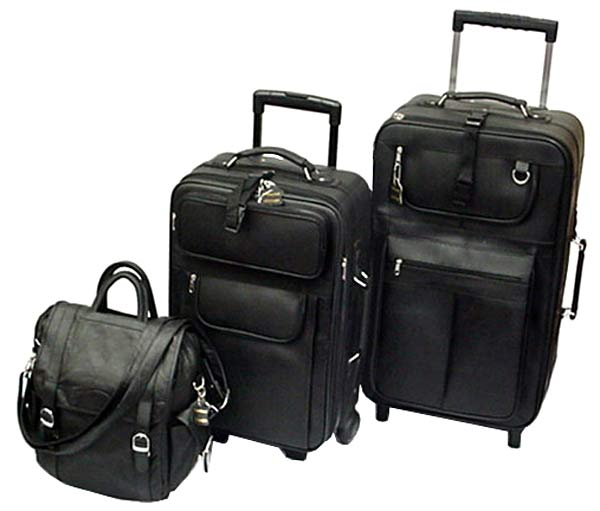 Black Leather 3-piece Luggage Collection