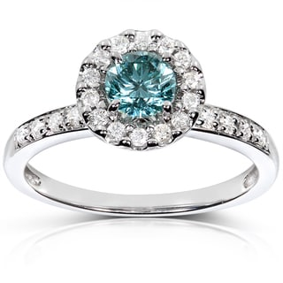Annello 14k White Gold 3/4ct TDW Halo Blue Diamond Ring (H-I, I1-I2)