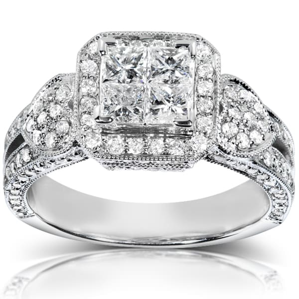 Annello 14k White Gold 1 1/2 ct TDW Diamond Engagement Ring (H-I, I1-I2)