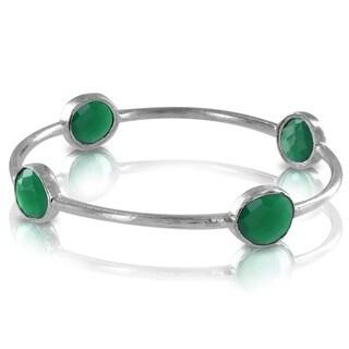 West Coast Jewelry ELYA Designs Silverplated Green Onyx Bangle Bracelet