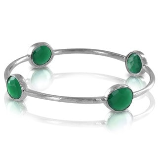 West Coast Jewelry ELYA Designs Silverplated Green Onyx Bangle Bracelet