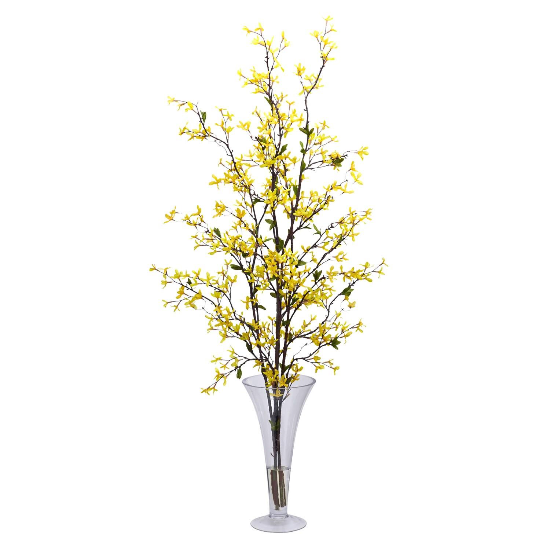 Forsythia Vase Silk Flower Arrangement