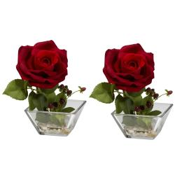 Rose Square Vase Silk Flower Arrangement (Set of 2)