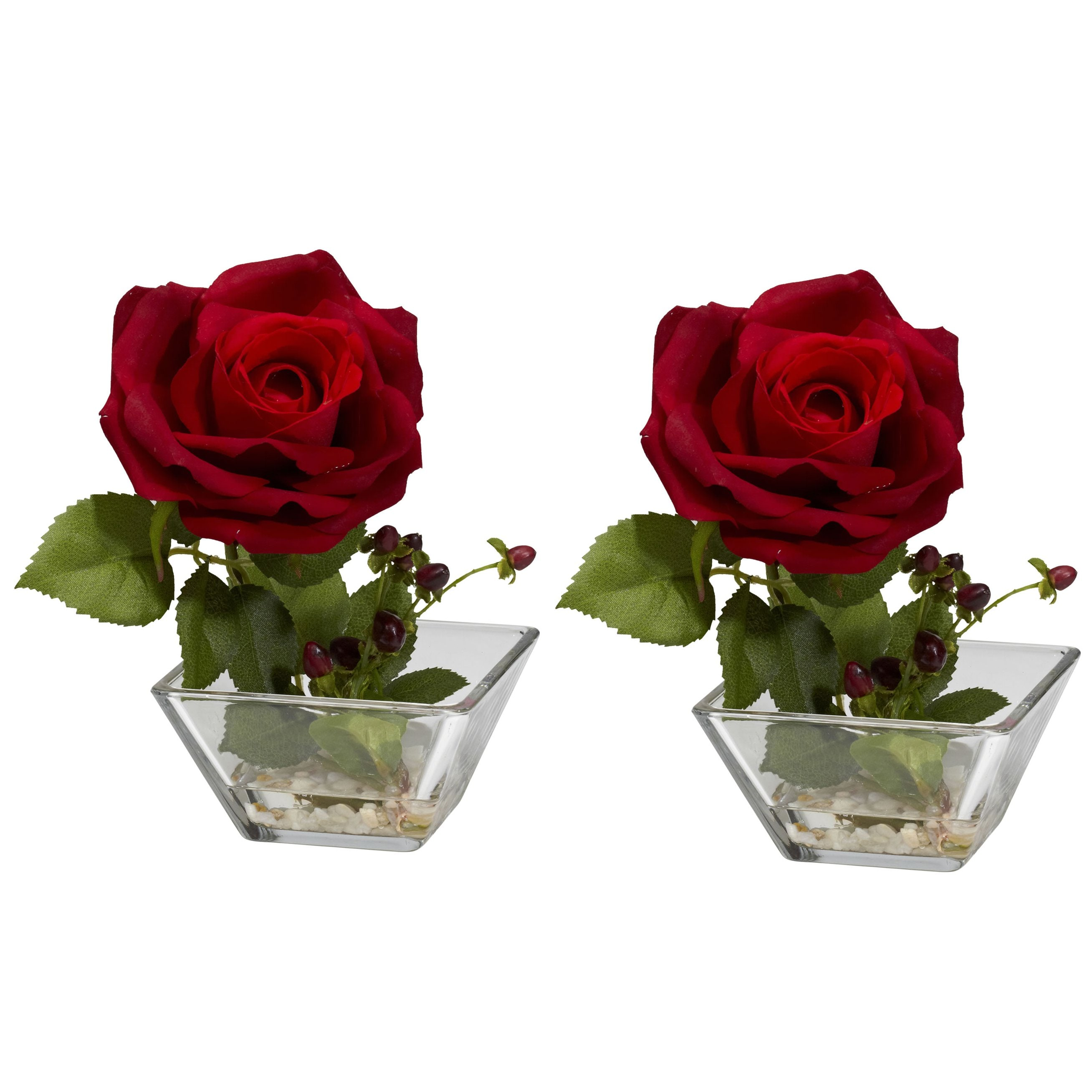 Rose square vase silk flower arrangement set of 2 - Flower arrangements for vases ...