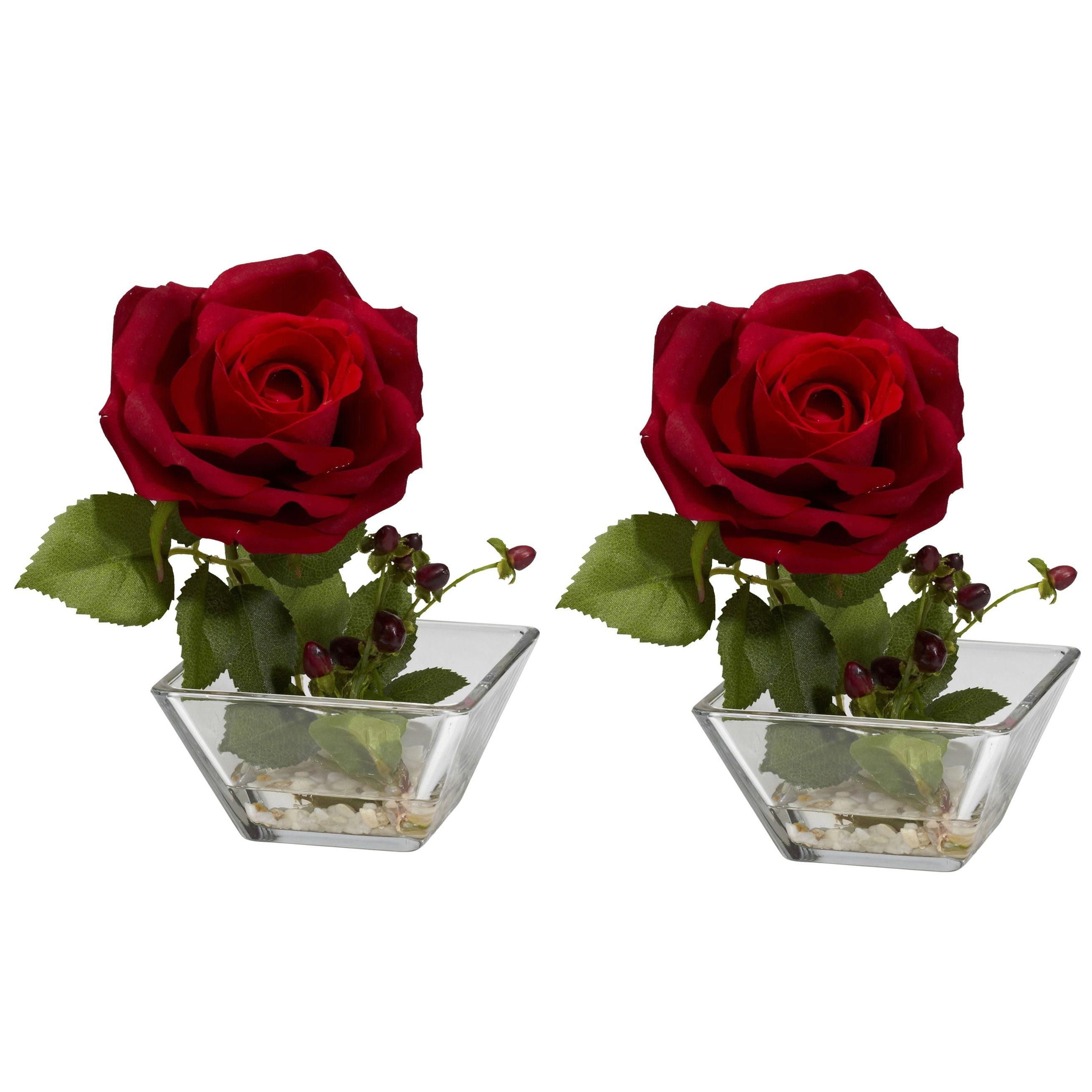 Rose Square Vase Silk Flower Arrangement (Set of 2)