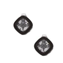 La Preciosa Black-plated Silver Cubic Zirconia Square Earrings