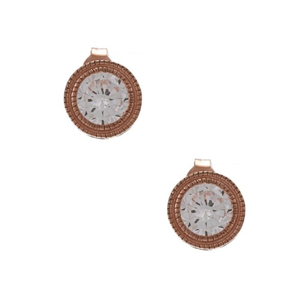 La Preciosa Rose Goldplated Silver Cubic Zirconia Circle Earrings
