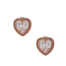 La Preciosa Rose Goldplated Silver Cubic Zirconia Heart Earrings
